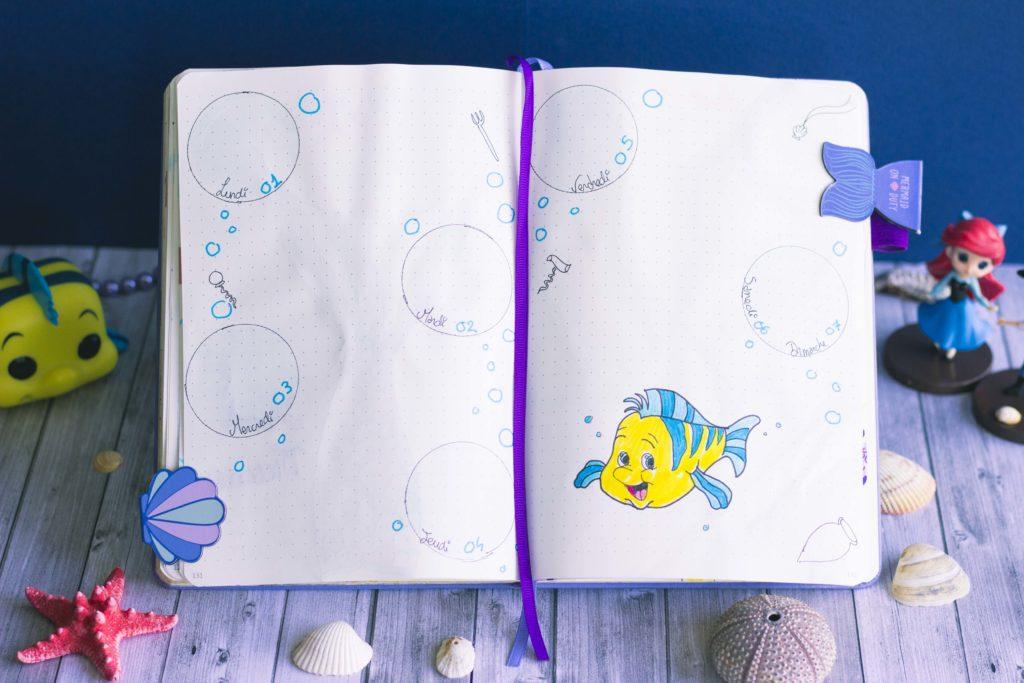 Bullet journal juillet 2019 la petite sirène Disney The Little Mermaid flounder