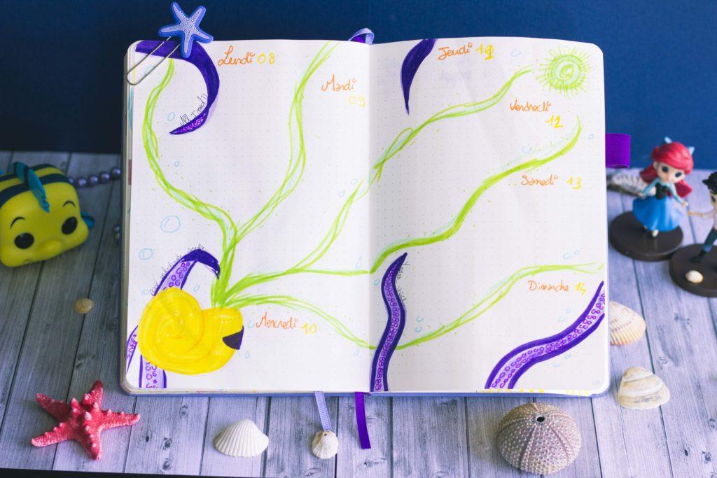 Bullet journal juillet 2019 la petite sirène Disney The Little Mermaid Ursula