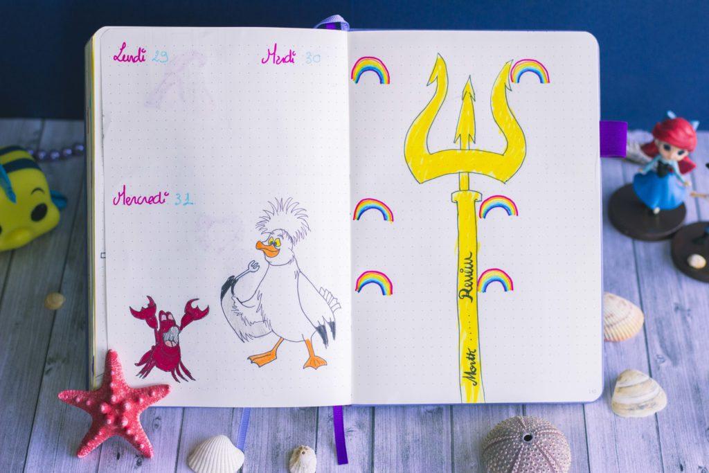 Bullet journal juillet 2019 la petite sirène Disney The Little Mermaid Scuttle & Sebastian